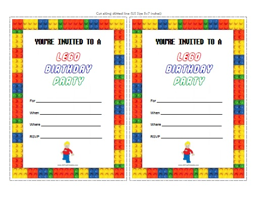 6 Images of LEGO Birthday Party Invitations Printable
