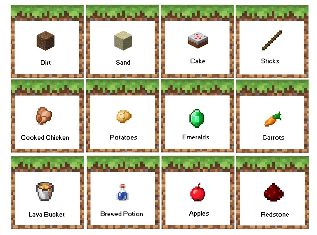 Printable Minecraft Food Tent Cards
