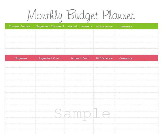 monthly budget planner online