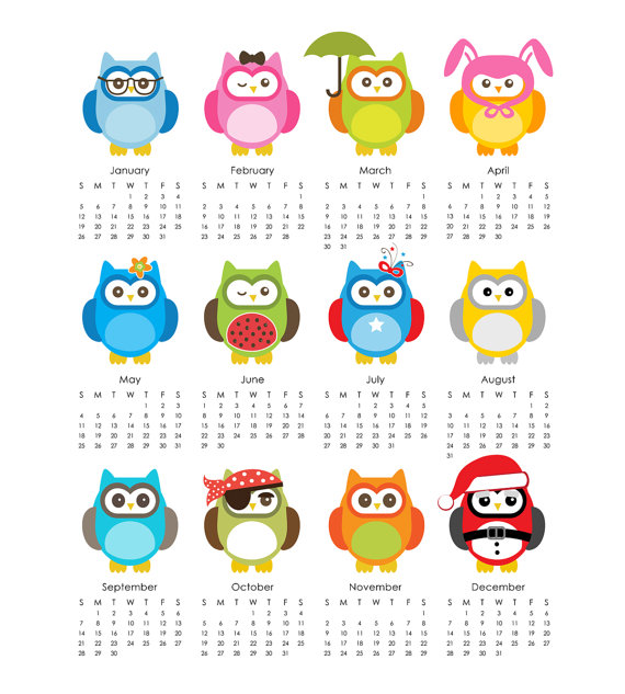 4 Images of Printable Owl Calendar 2014