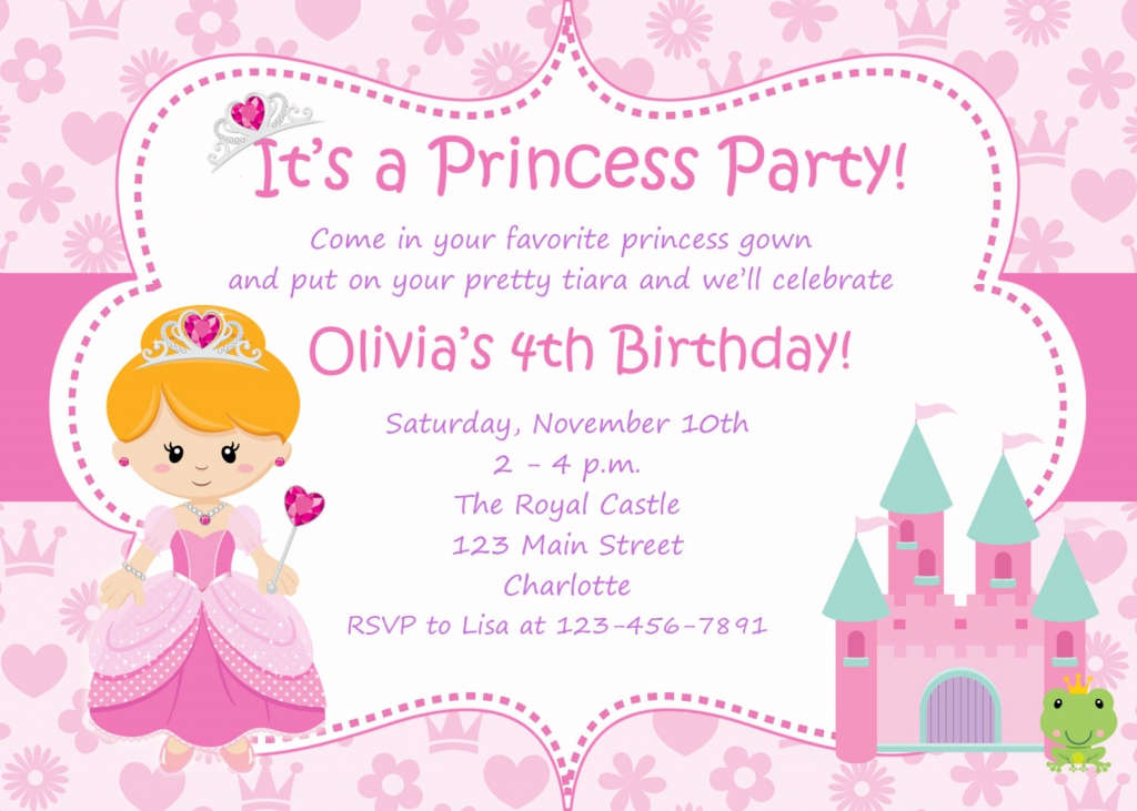 9 Images of Princess Birthday Party Invitation Templates Printable