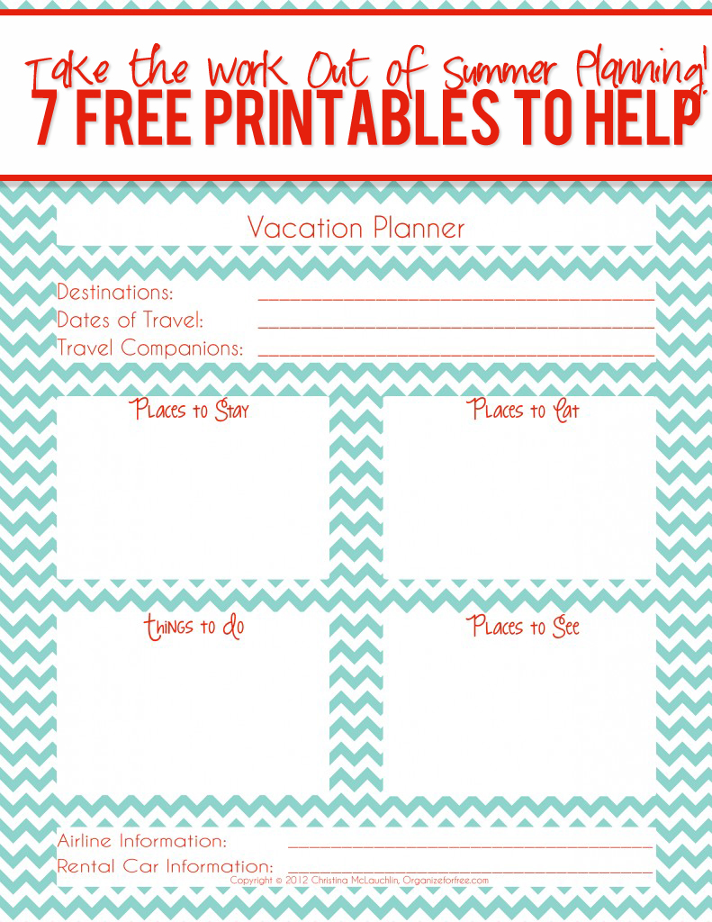 7 Images of Family Vacation Printables