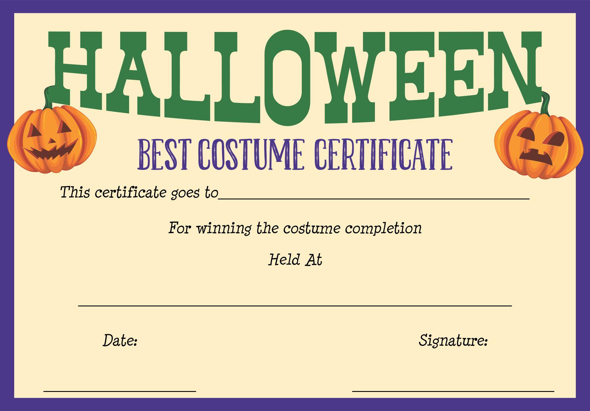 Halloween Costume Awards Printable Free
