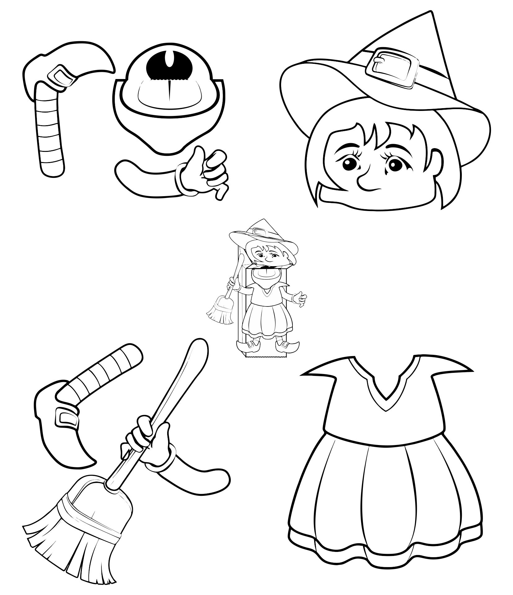 8 best images of printable halloween paper bag puppets for Puppet coloring pages