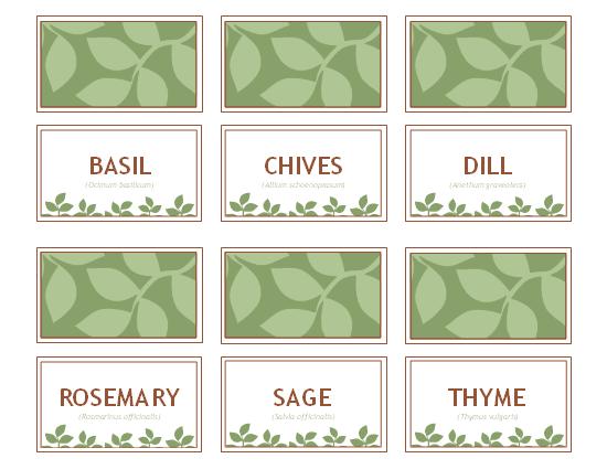 Herb Garden Labels Printable Free