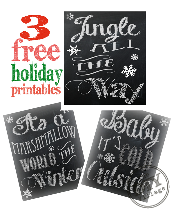 Holiday Chalkboard Printables