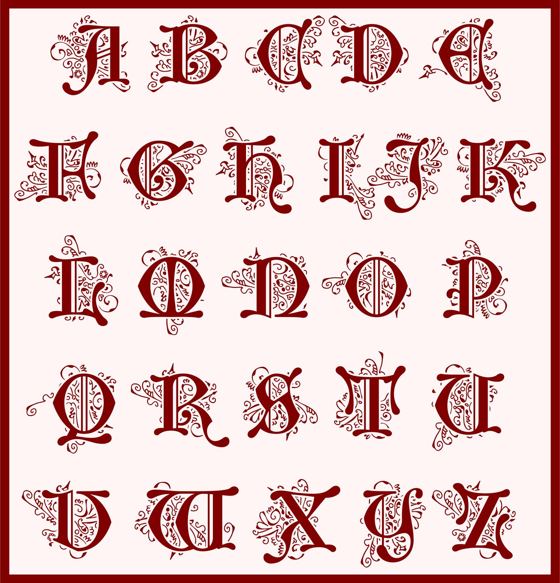 Illuminated Manuscript Alphabet Letters