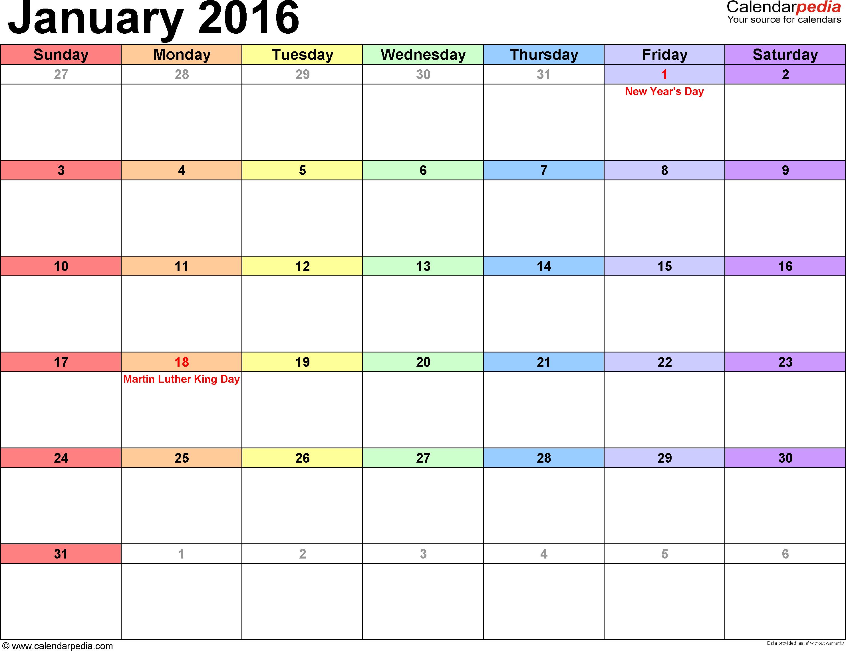 January 2016 Printable Calendar Template