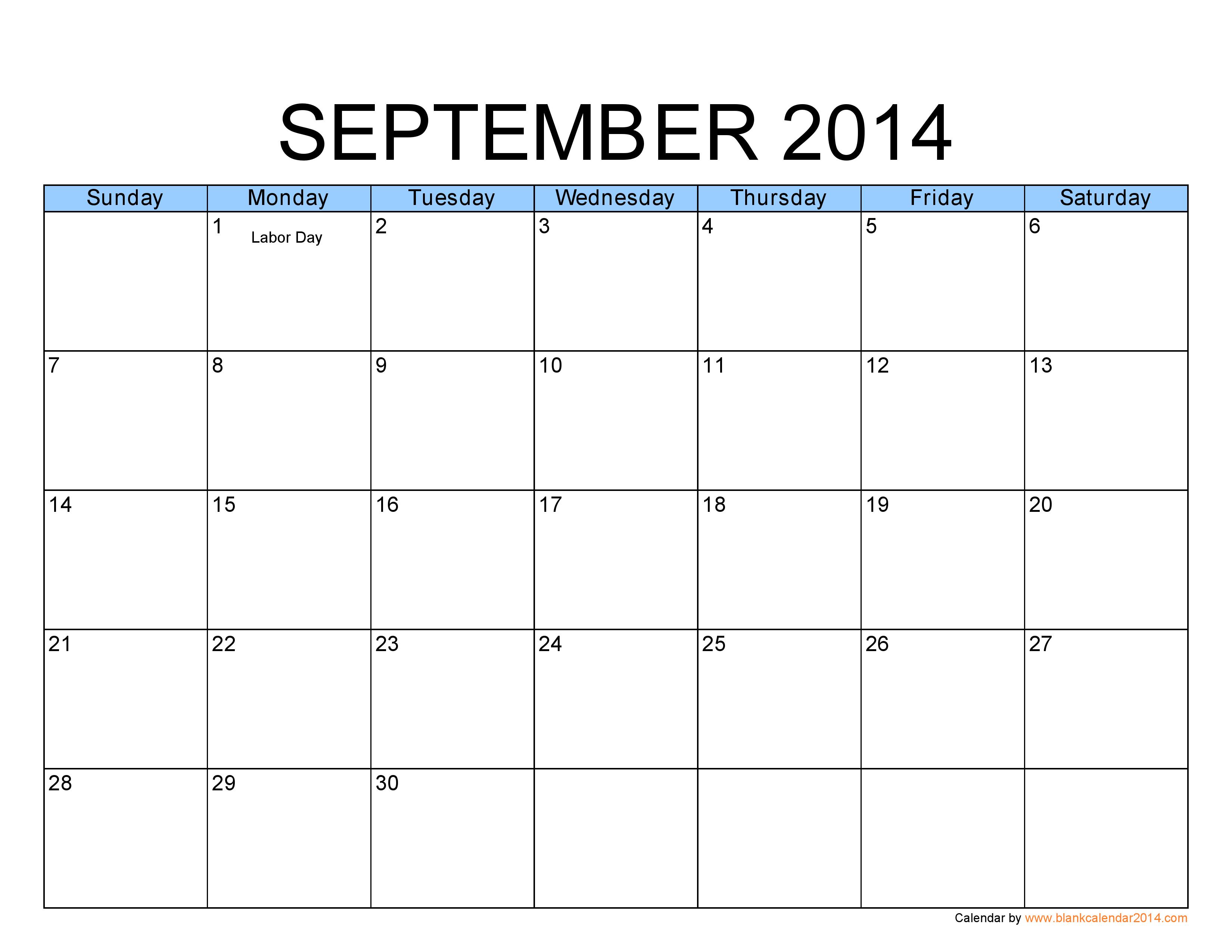 7 Images of Free Printable Calendar September 2014
