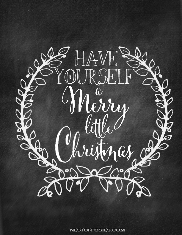 Merry Little Christmas Chalkboard Printable