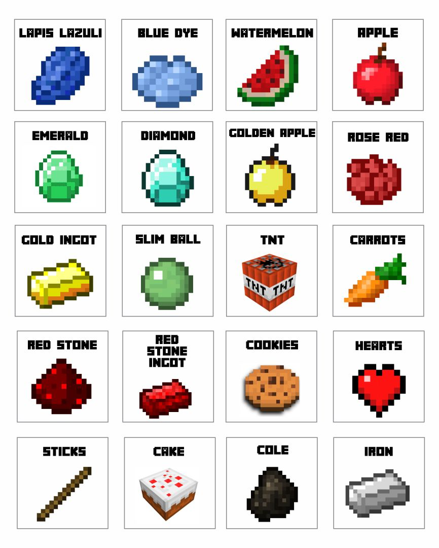 8 Images of Minecraft Food Printables Card