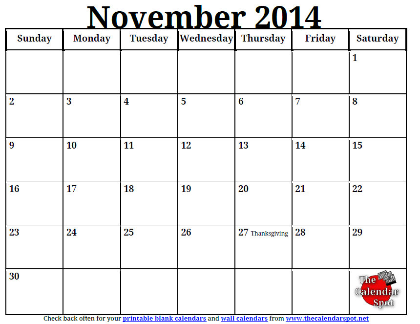 6 Images of November 2014 Calendar Printable PDF