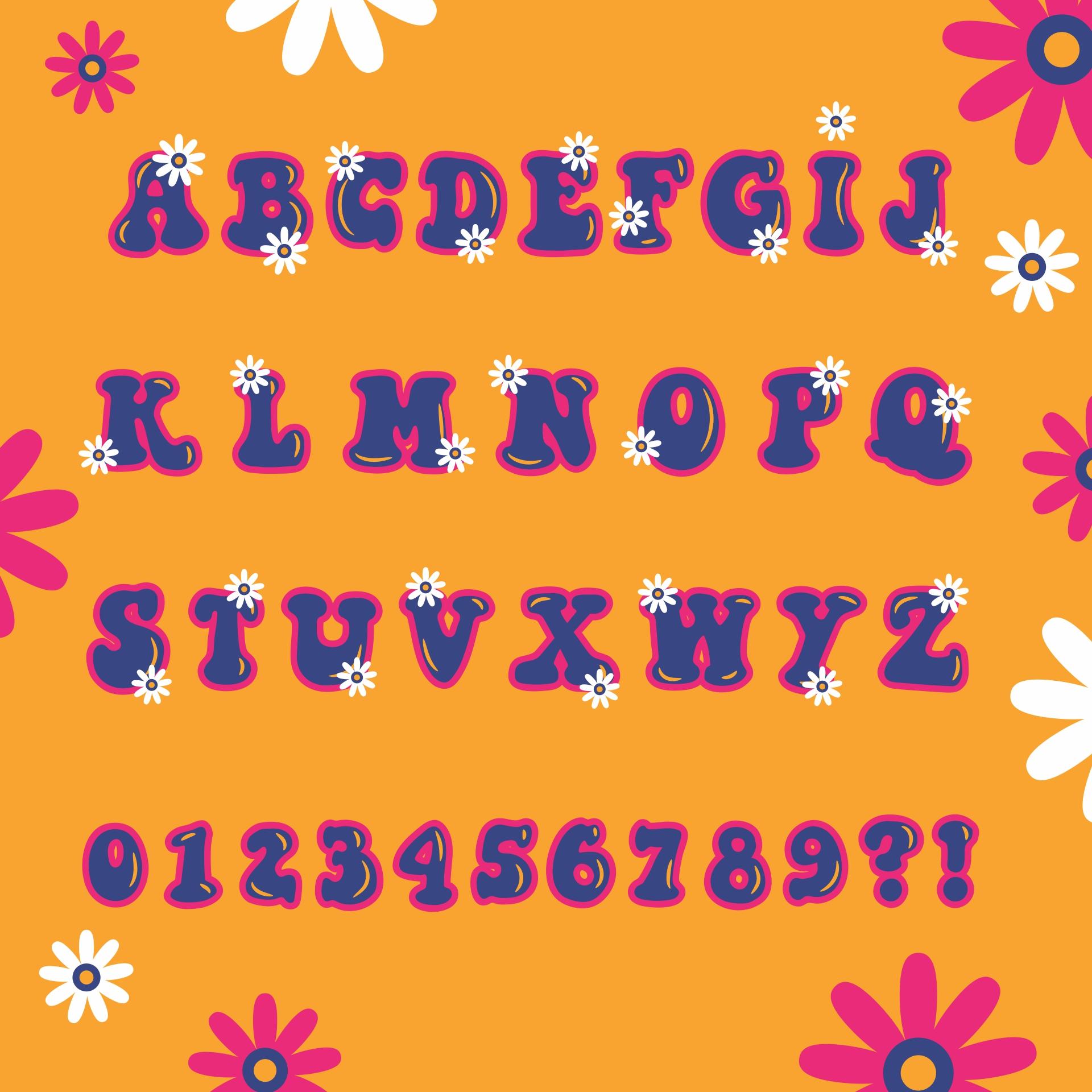 Printable Flower Bubble Letters