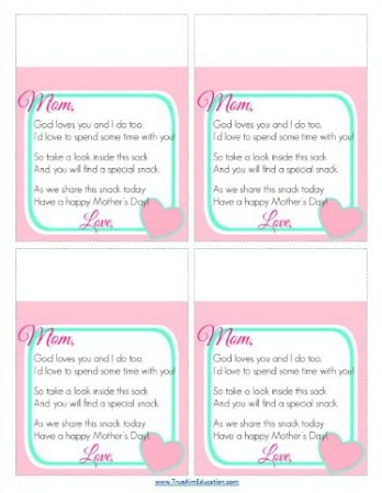 Printable Mother's Day Poem From Kid