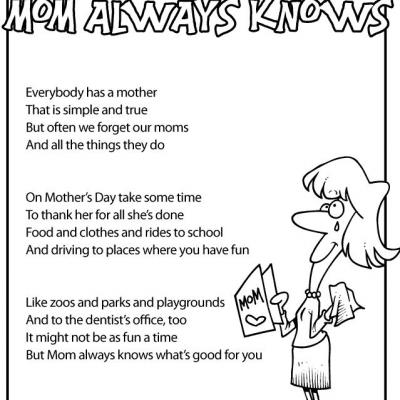Printable Mother's Day Poems for Kids