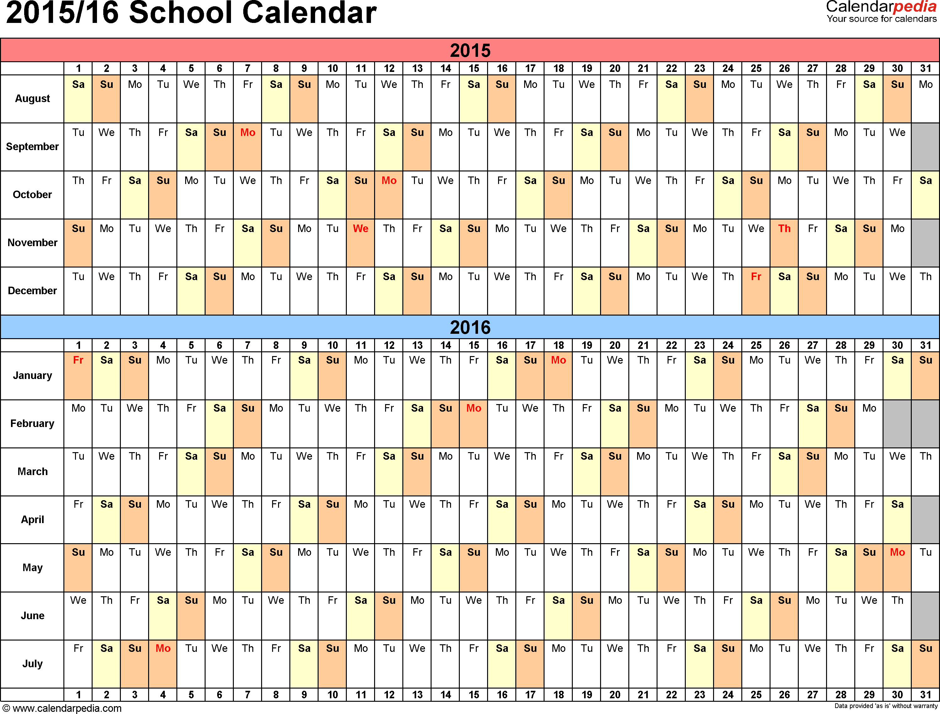 7 Images of 2015-2016 School Year Calendar Printable