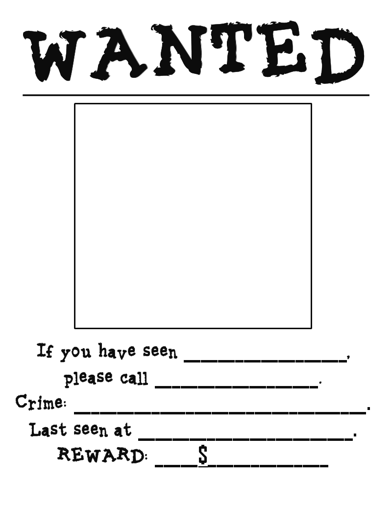 6 best images of printable wanted poster template blank for Free wanted poster template