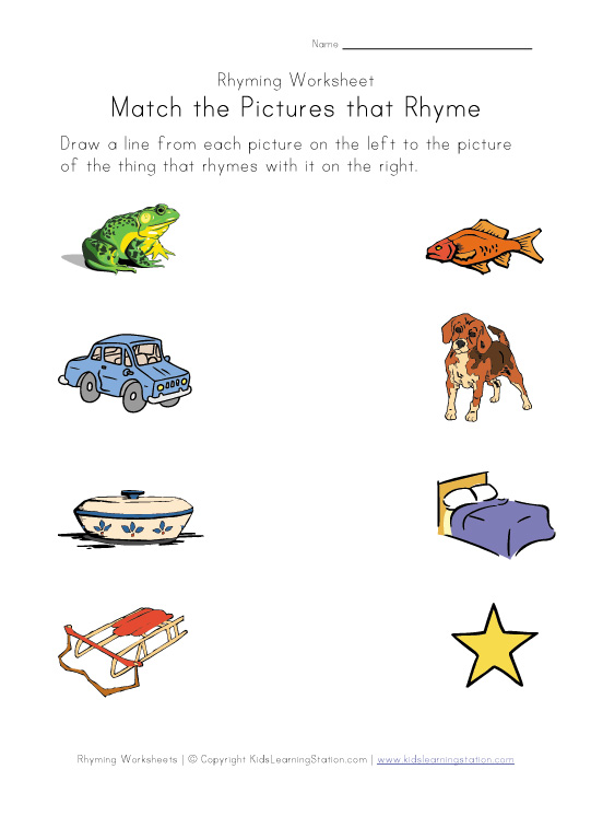 Number Names Worksheets rhyming words for kids in english Free – Kindergarten Rhyming Worksheets