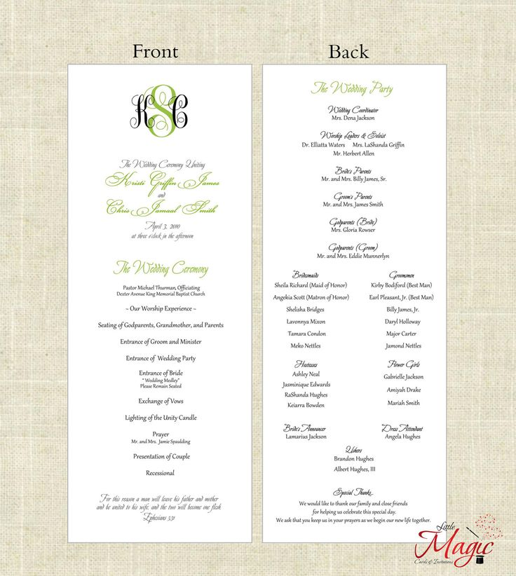 8 Images of DIY Printable Wedding Programs
