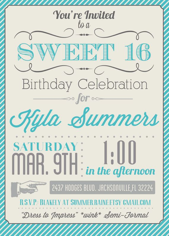 ... Templates Printable, Sweet 16 Birthday Invitation Templates Free and