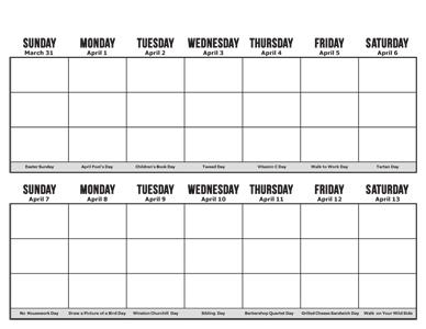 of Two- Week Calendar Printable - Printable 2 Week Calendar Template ...