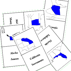 8 Images of Us States Flash Cards Printable