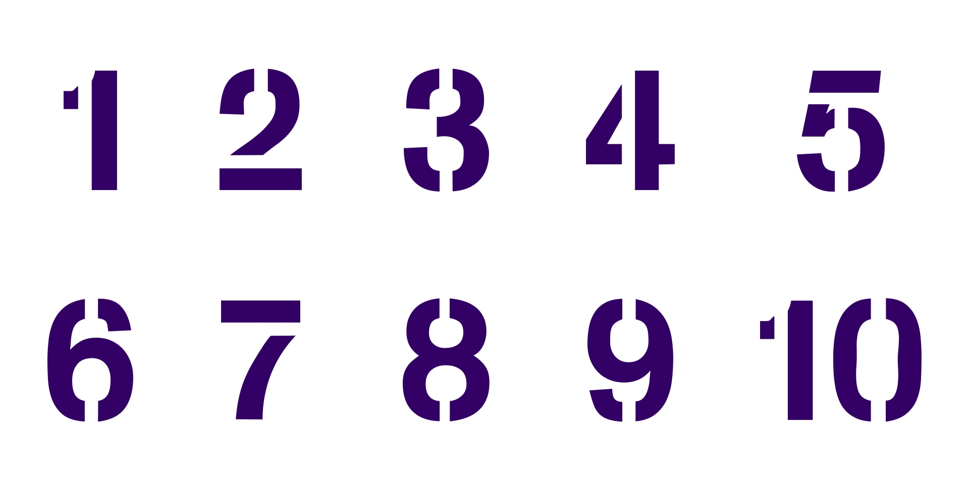 1 Inch Number Stencils Free