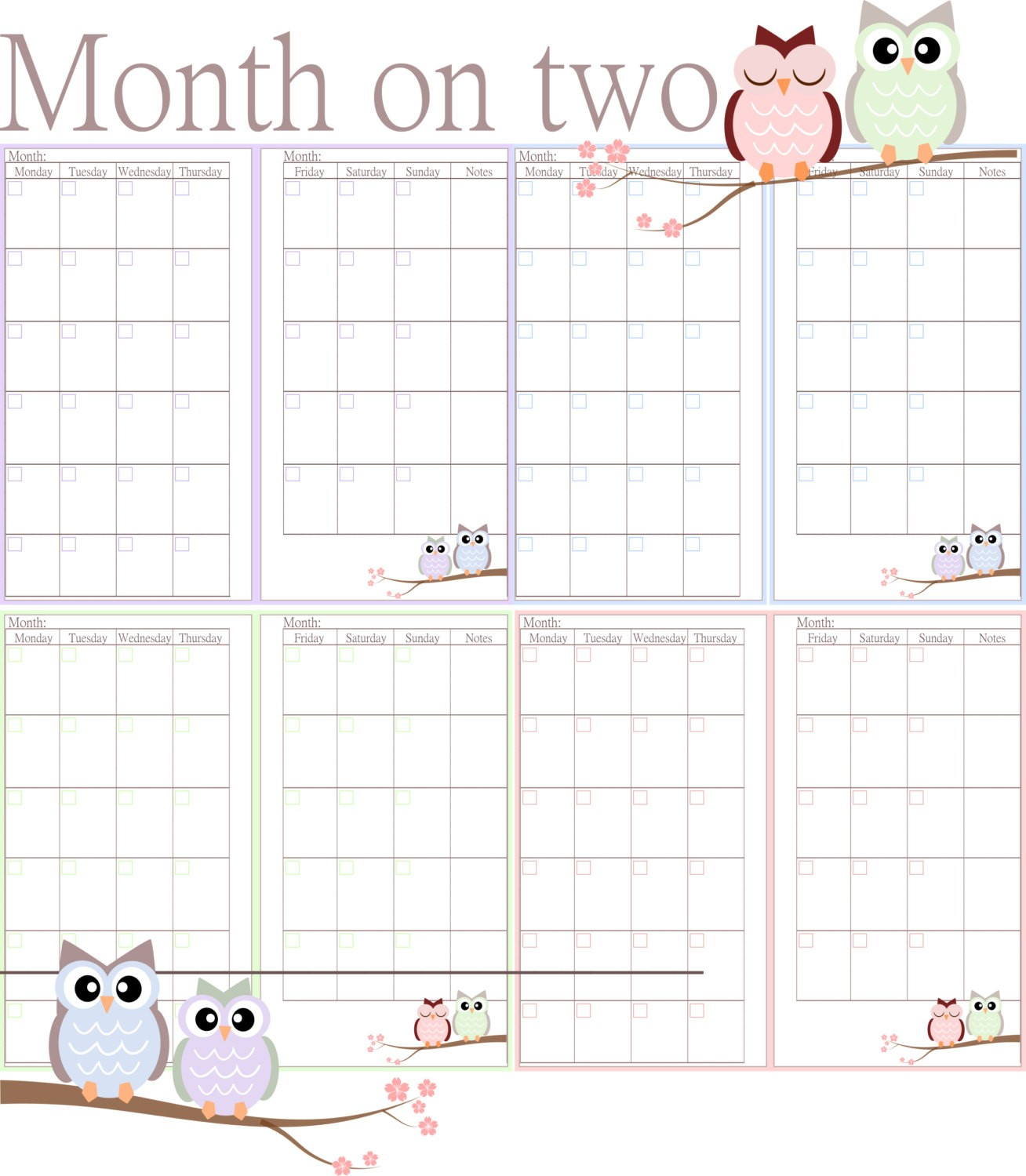 6 best images of filofax printable month on two for Two page monthly calendar template