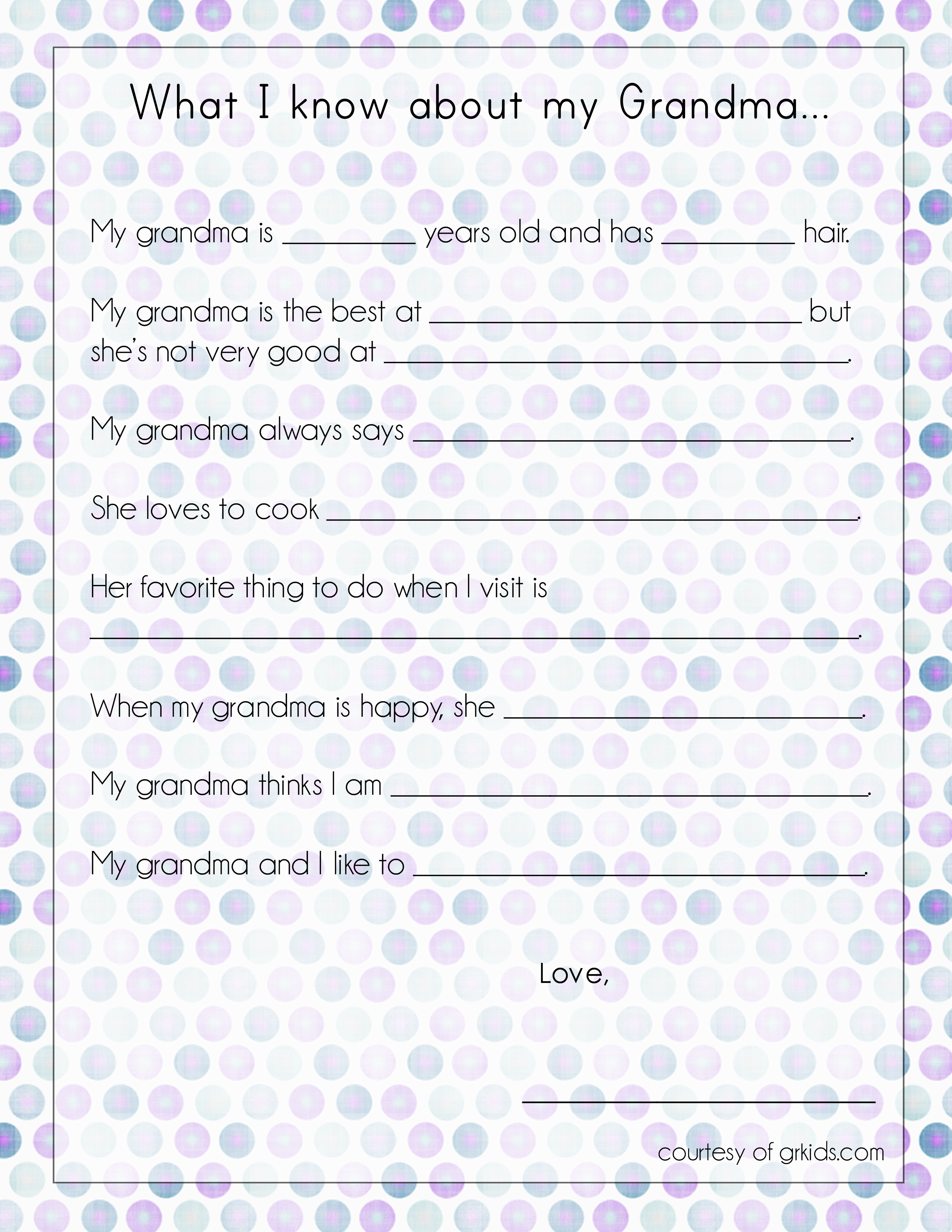 6 Images of Grandma For Mother's Day Printables