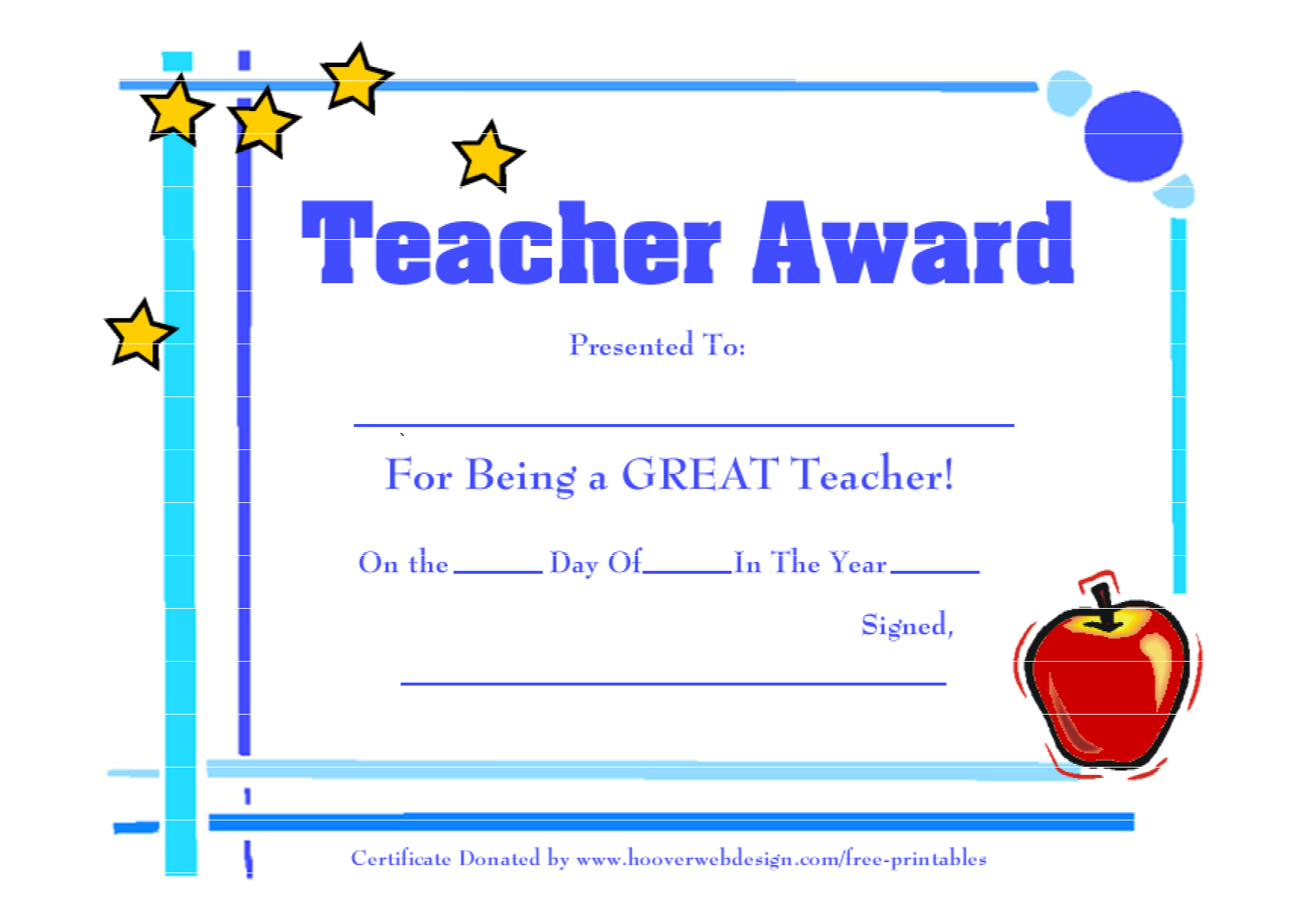 teacher of the month certificate template - 5 best images of printable teacher appreciation