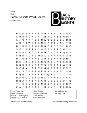 4 Images of Black History Word Search Puzzle Printable