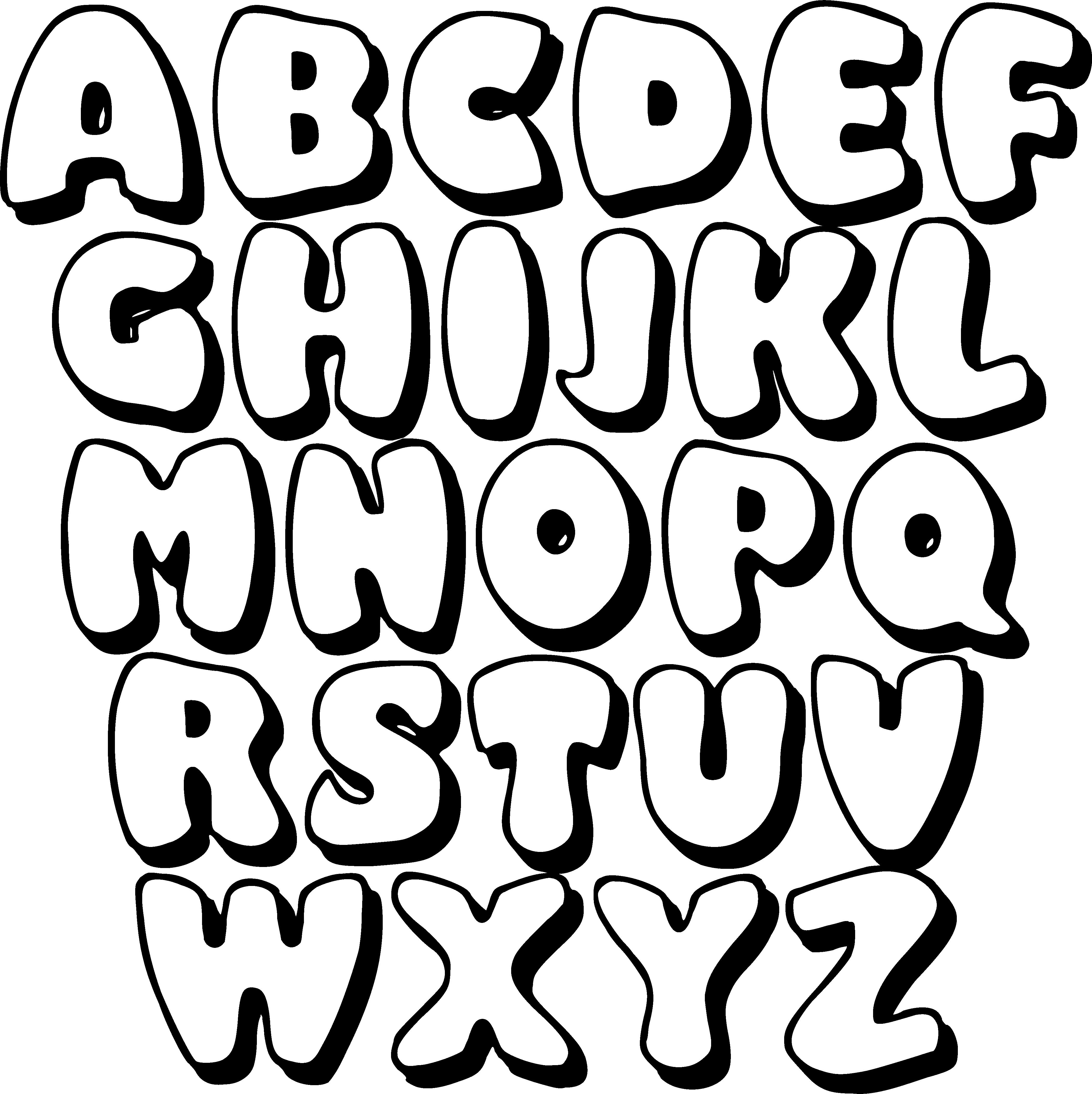 Black Printable Bubble Letters