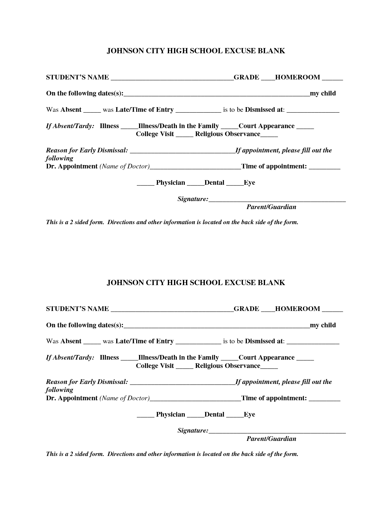 7 Images of Blank Printable Doctor Excuse Form