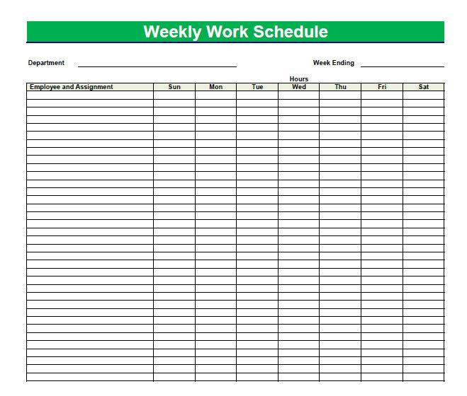 Blank Weekly Employee Schedule Template