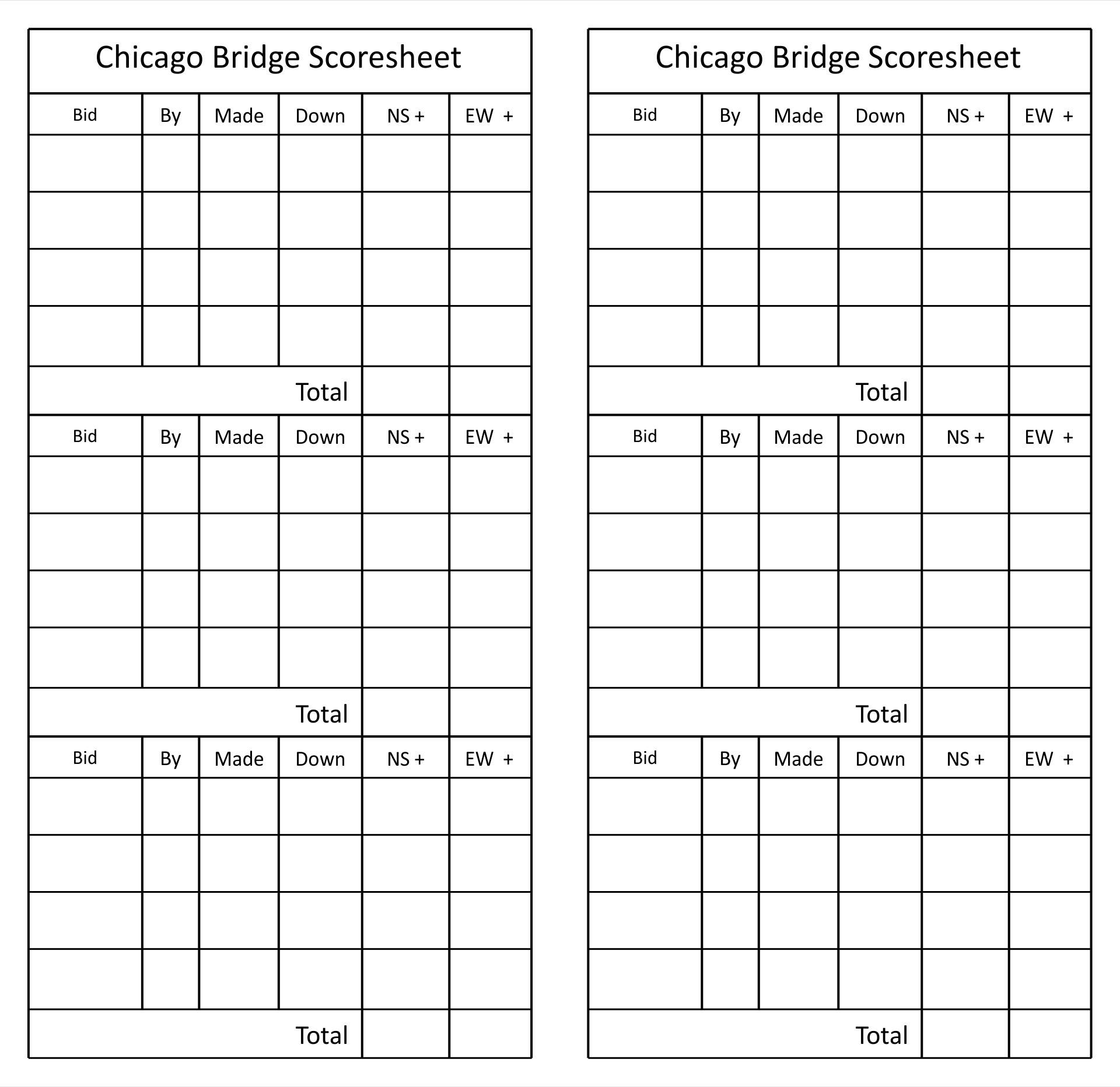 Chicago Bridge Score Sheet Printable