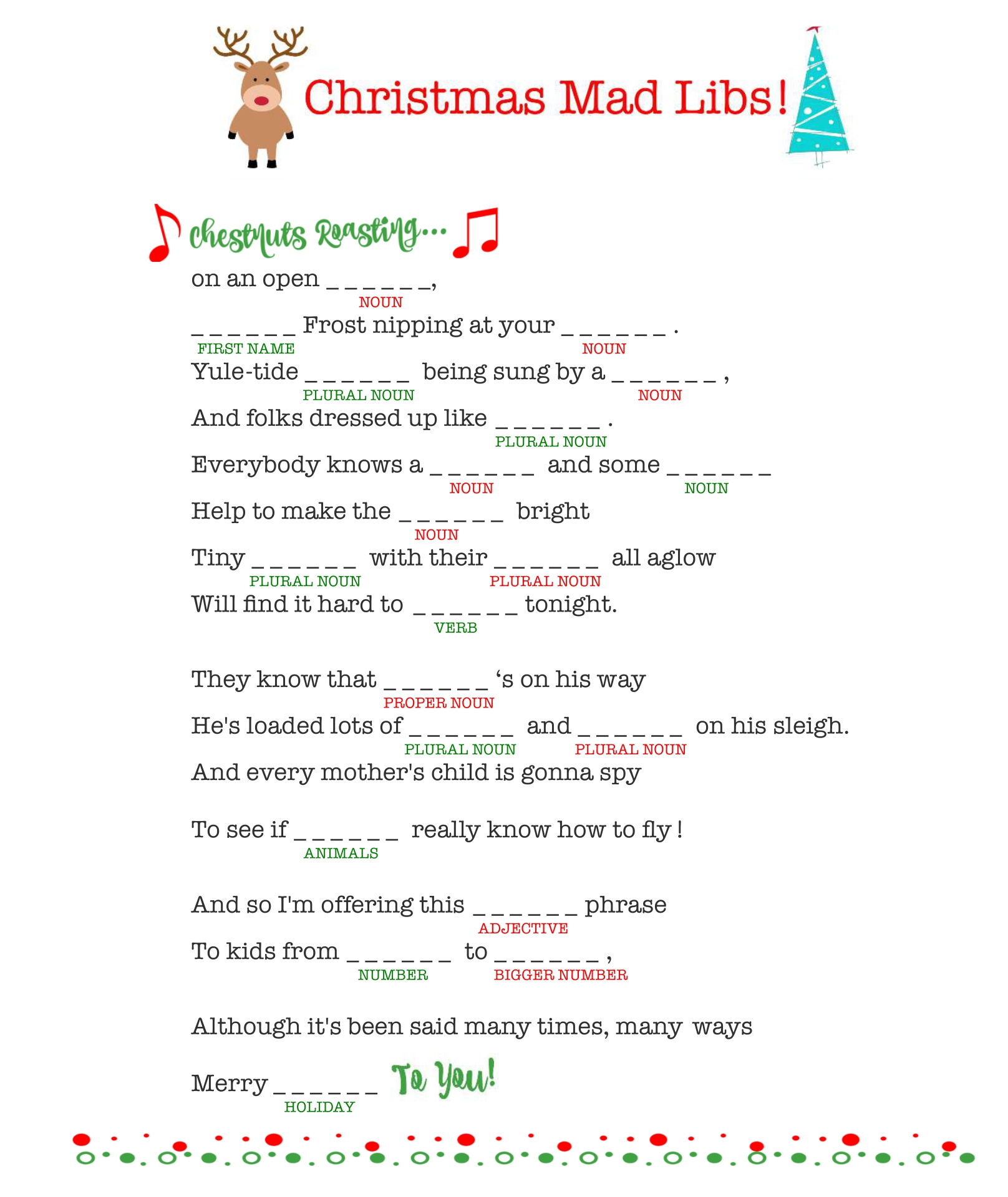 8 Images of Printable Christmas Carol Mad Libs