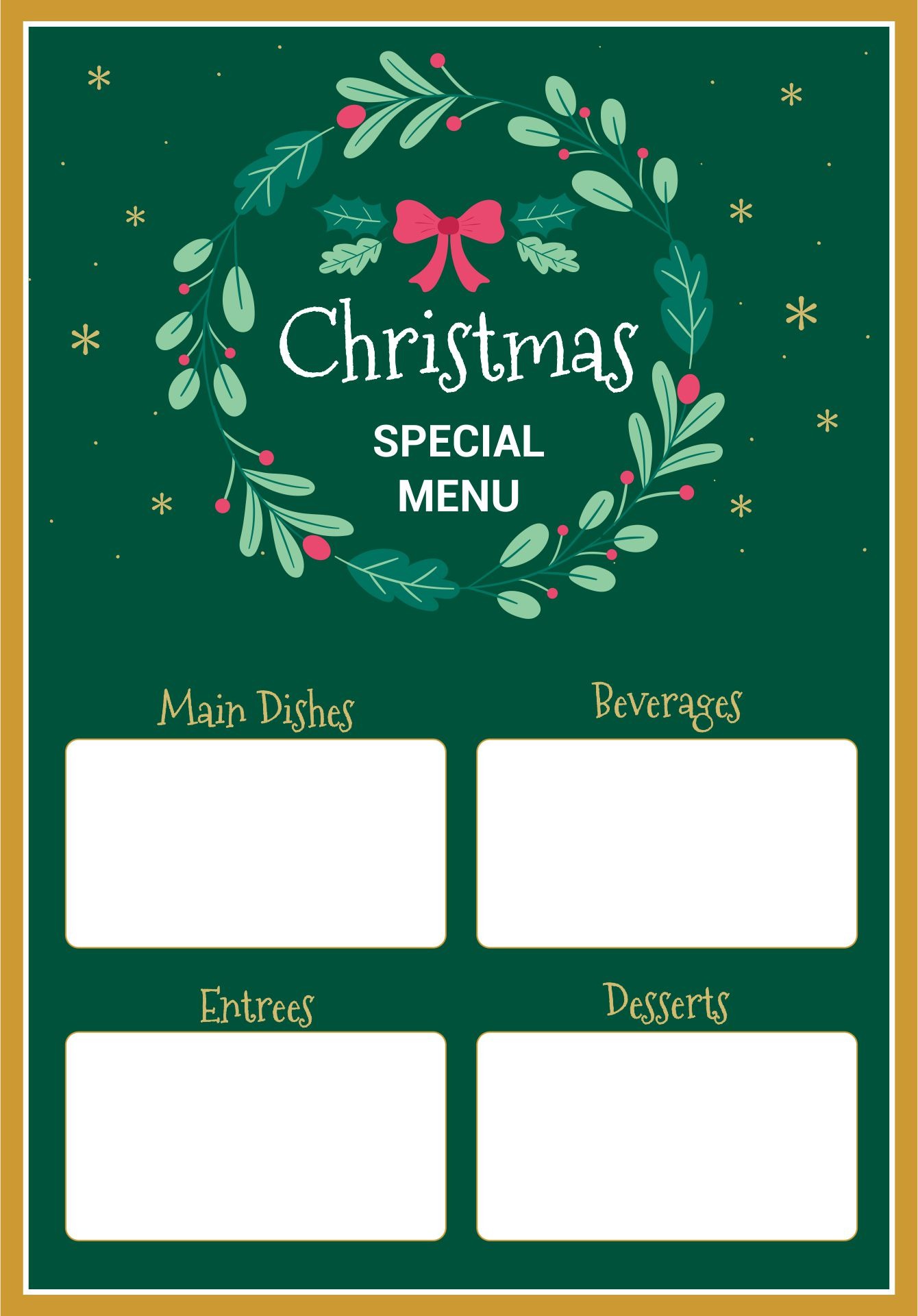 6 Images of Free Printable Christmas Menu Templates