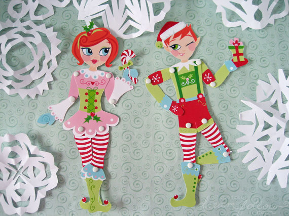 7 Images of Elf Paper Doll Printable