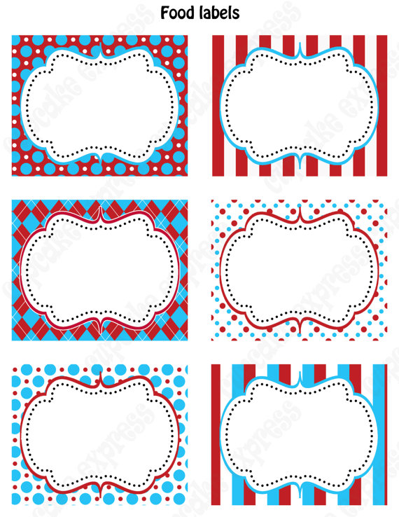 4 Images of Carnival Food Labels Printable