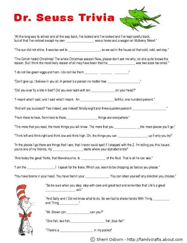 9 Images of Printable Dr. Seuss Trivia