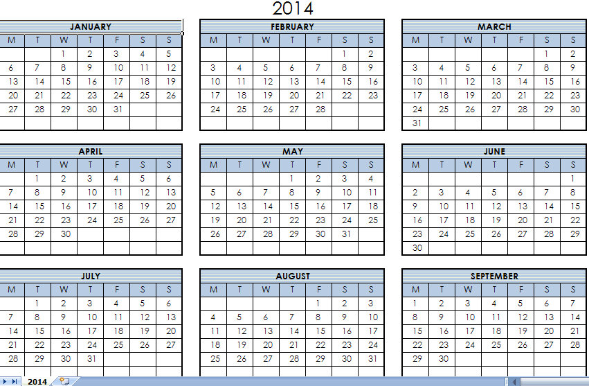 Calendar Excel One Page : Best images of year calendar printable one page