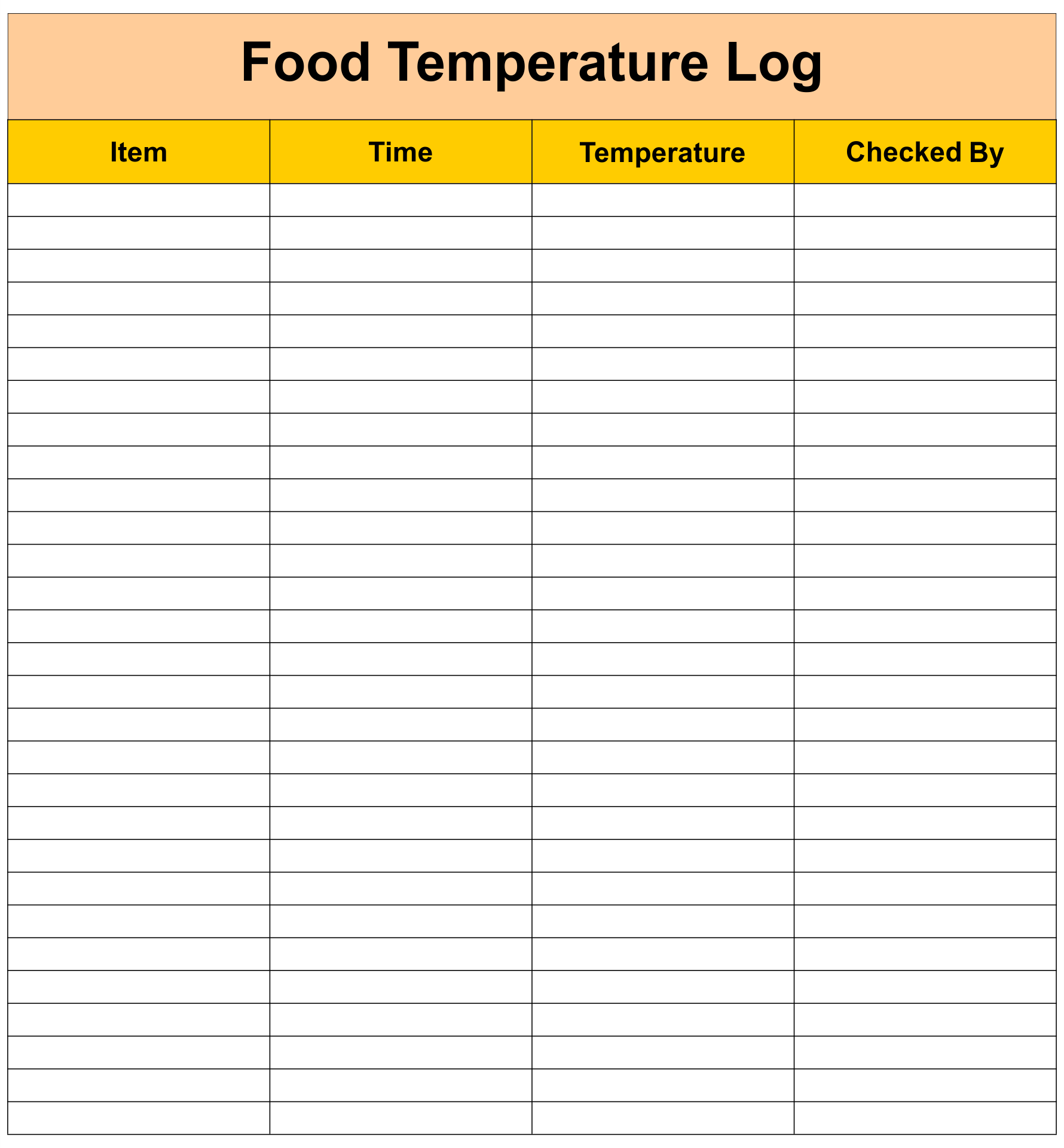 Food Temperature Chart Template