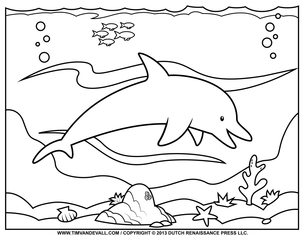 5 Images of Free Printable Dolphin Coloring Pages