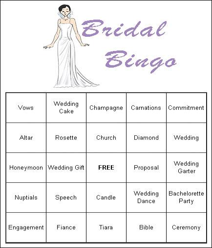 7 Images of Bridal Shower Bingo Free Printable