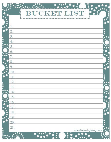 Free Printable Bucket List