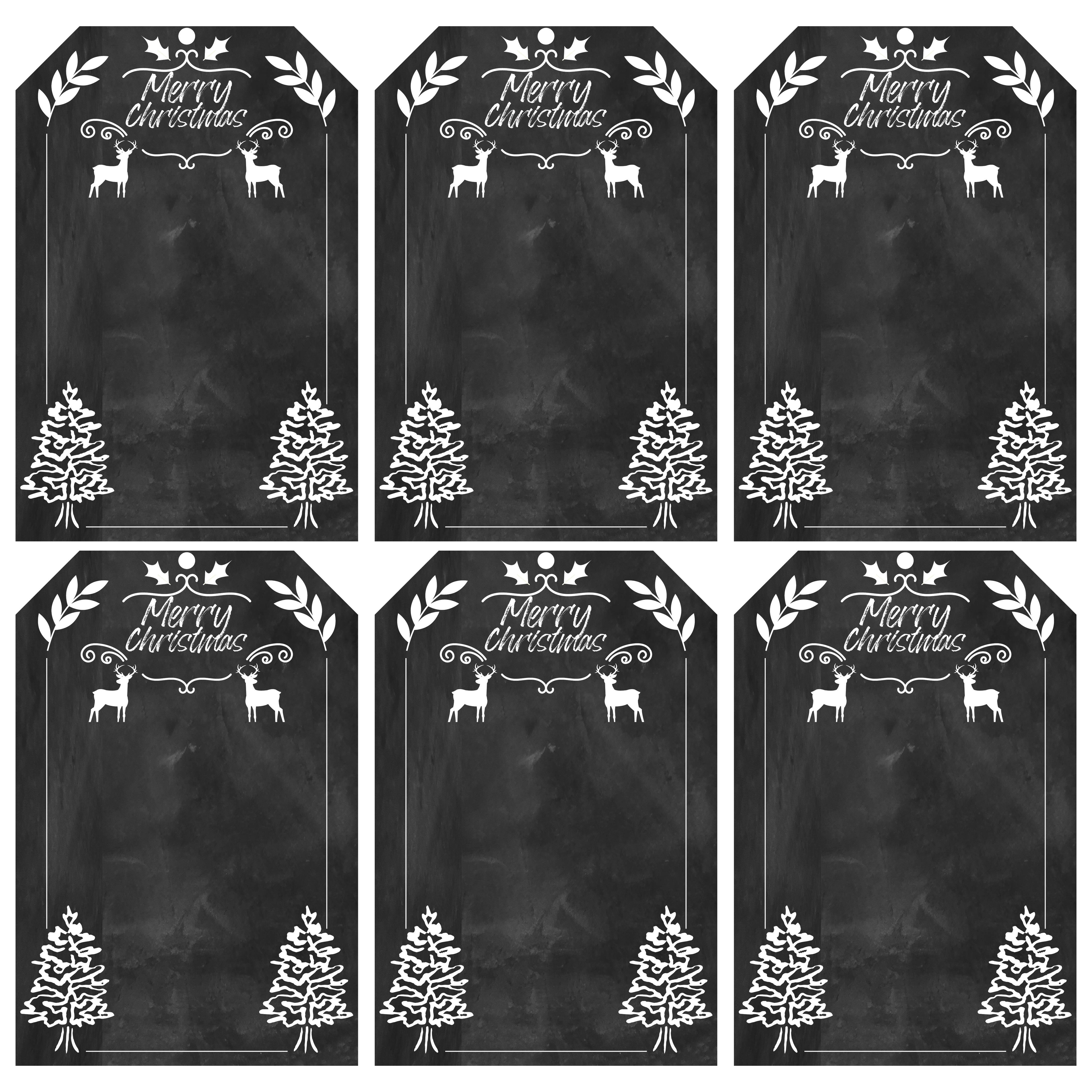 6 Images of Free Printable Christmas Gift Tags Chalkboard