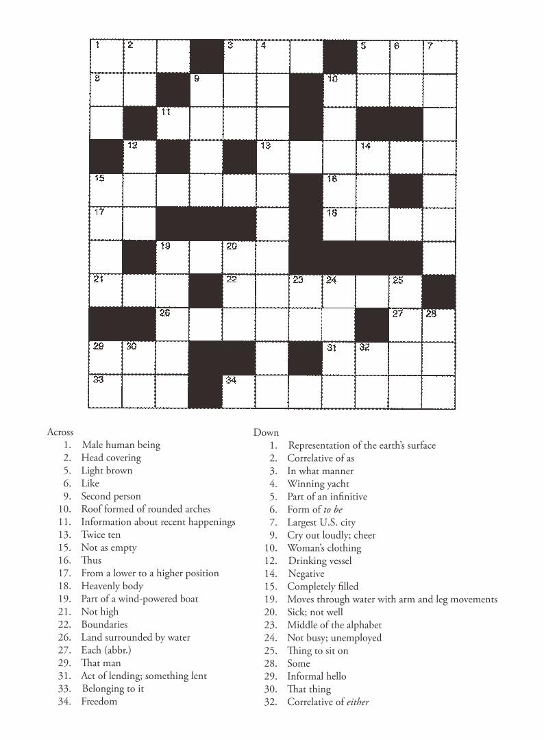 Printable Easy Crossword Puzzles