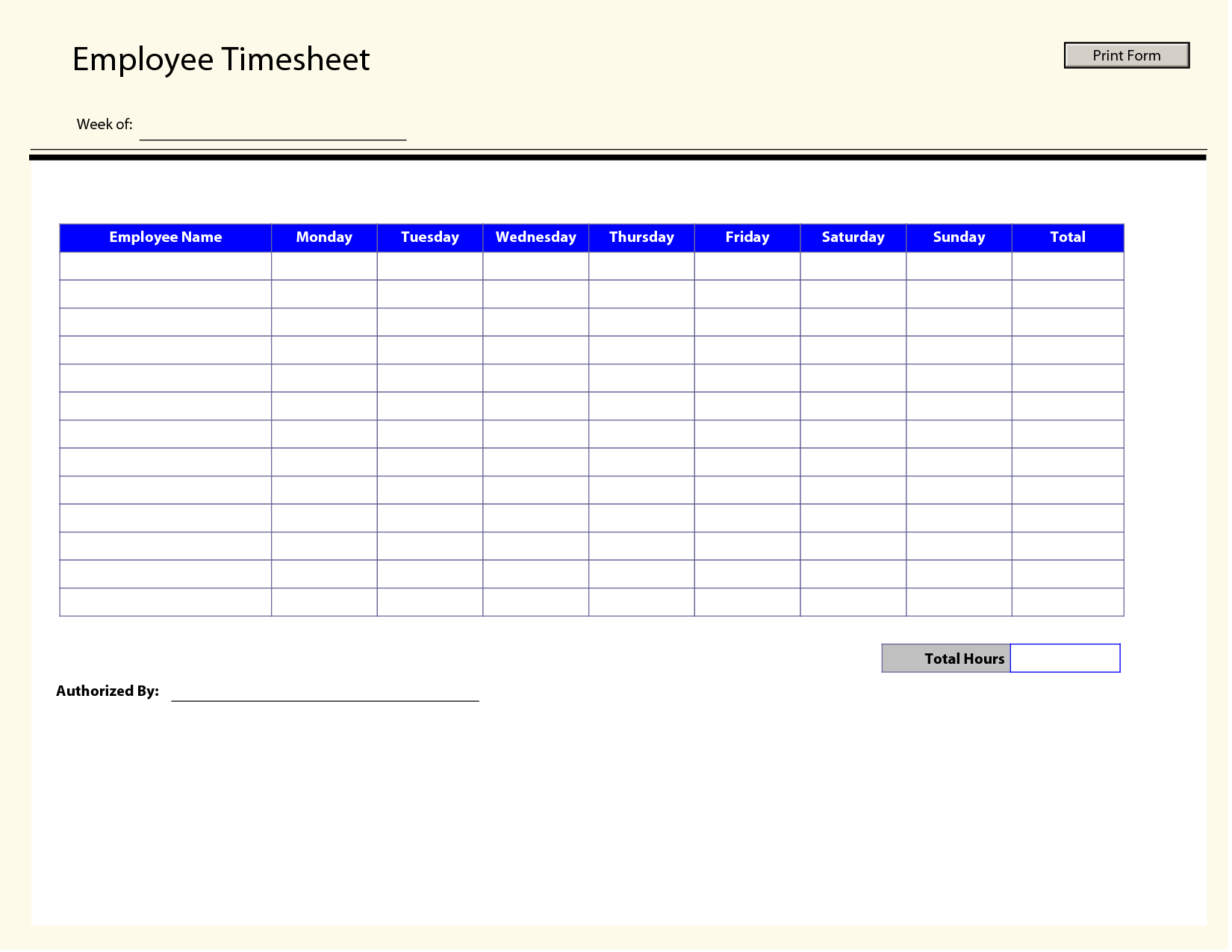 9 Images of Printable Employee Timesheet Templates