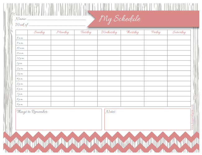 Free Printable Family Weekly Schedule