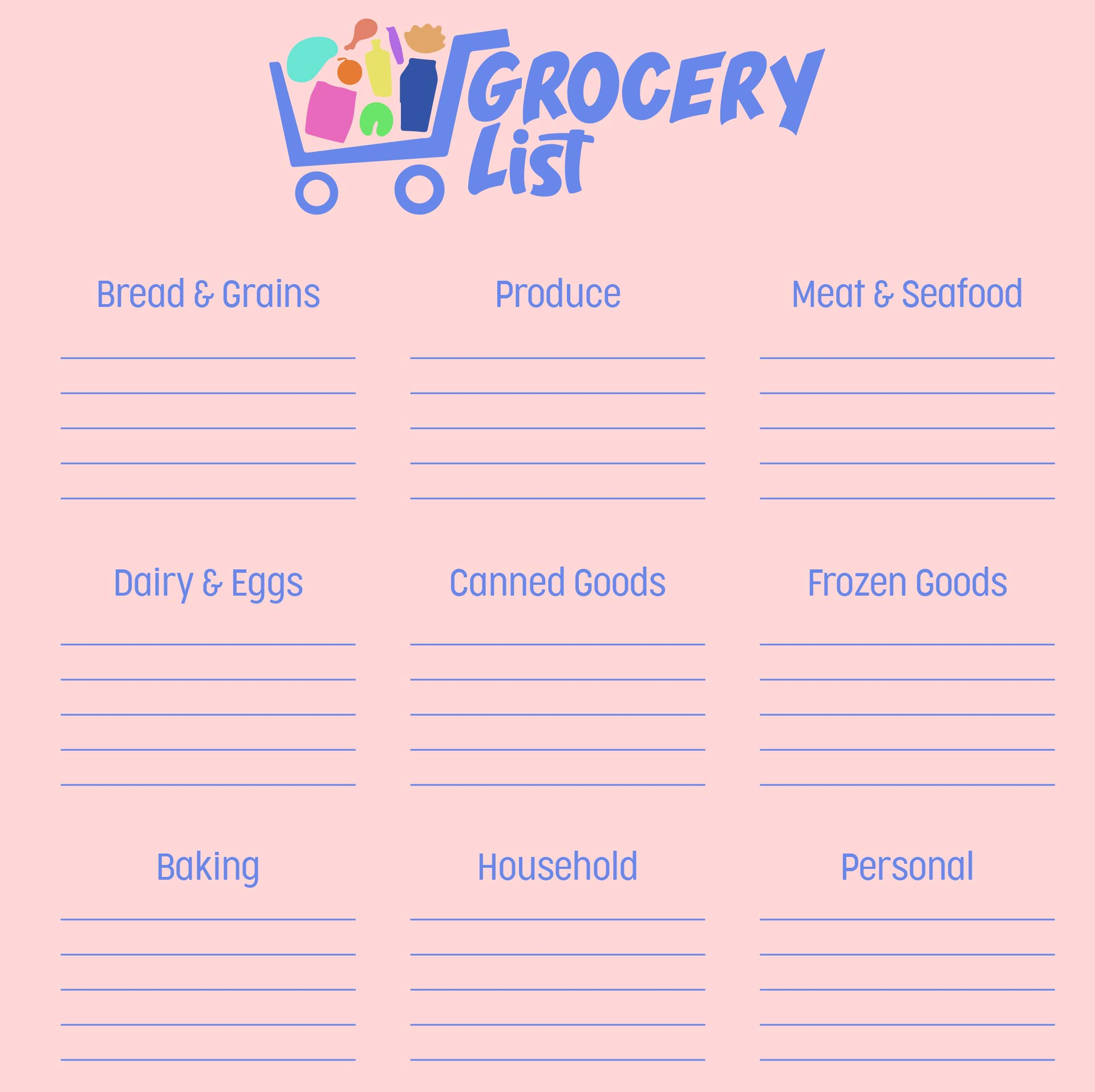 Printable Grocery List Template